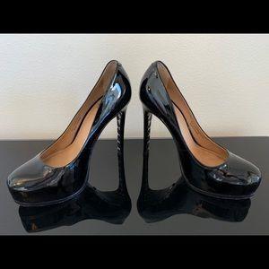 Pour la Victoire black patent platform heels